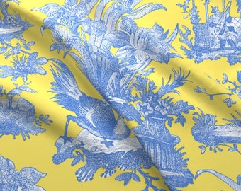Citron Presse Fabric - Chinoiserie Toile ~ Provence ~ Citron Presse By Peacoquettedesigns - Toile Cotton Fabric By The Yard With Spoonflower