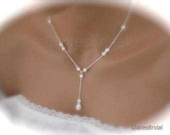 Delicate Pearl Necklace Wedding Necklace Bridal Jewelry Pearl and Rhinestone Necklace