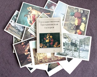 Vintage 22  Postcards Ttretyakov gallery  Tretyakovskaya USSR Russia Collection Post Card Collection 1982 Colorful Art Brown, ohtteam,