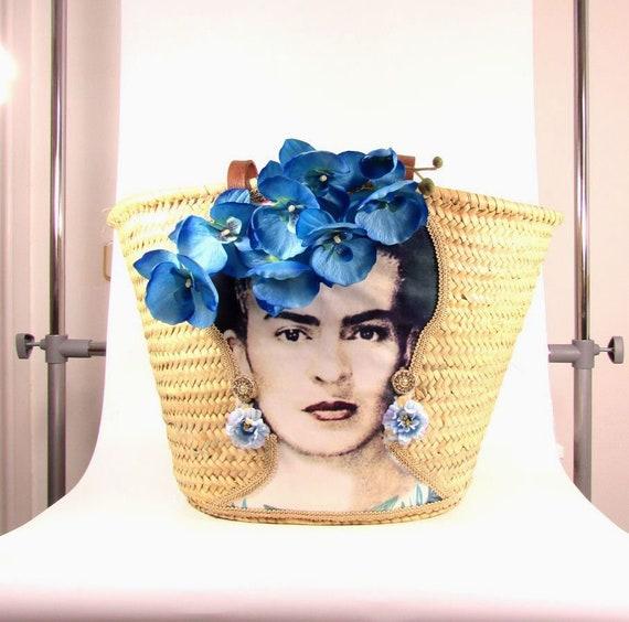 Frida Kahlo straw bag  Shoulder straw bag  Beach bag  Woven shoulder basket Handwoven and handecorated straw basket