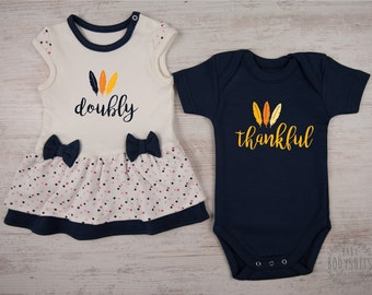 First THANKSGIVING Twin Babies, DOUBLY THANKFUL Boy Girl Twin Outfits, Navy Blue/Cream/Polka Dots Bodysuit Dress & Navy Blue Bodysuit
