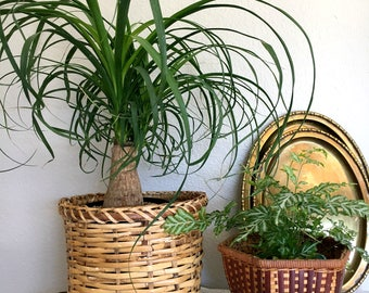 Set of 2 - Vintage Woven Rattan Planter Baskets / Woven Wicker Baskets