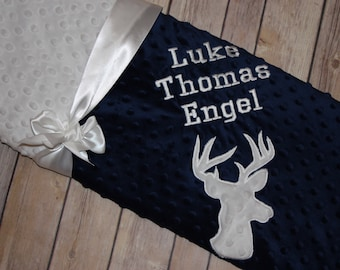 Buck- Personalized Minky Baby Blanket - Navy / White Minky - Embroidered Buck