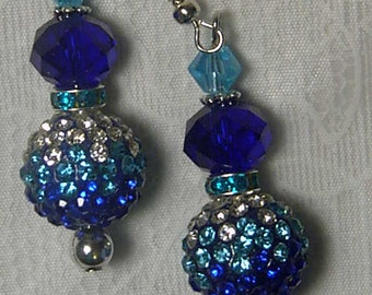 "Cynthia Lynn ""RHAPSODY"" Silver Plated Cobalt and Aqua Blue Crystal Embellished Bead Earrings"