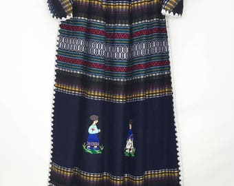 Ladies Navy Blue Cotton Mexican Dress
