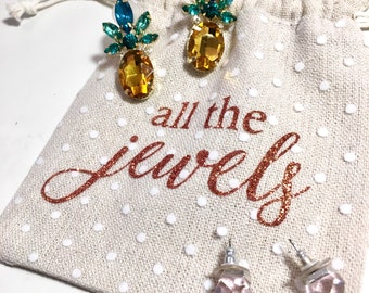 all the jewels jewelry pouch, drawstring. great for gifts, bridesmaids, bridal party, maid of honor, bachelorette party