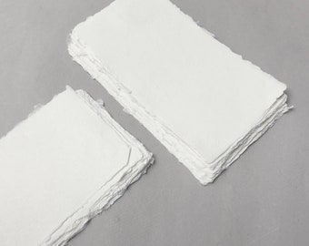 "4.3"" x 8.7"" Ivory, 210gsm Handmade Deckle Edge Cotton Rag Paper // Deckle Edge Paper, Cotton Paper, Invitation Paper, Calligraphy Paper"
