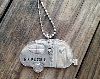 Happy Camper Necklace, Hand Stamped, Personalized,  Pewter Camper, Explore, Travel RV, Love Camping, Fun Camping, Summer Time,