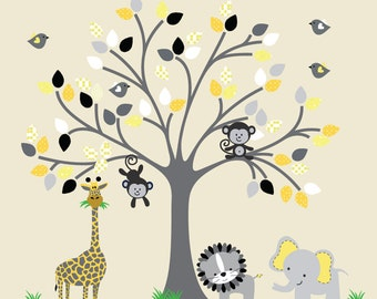 Childrens Tree Wall Decal Fabric REUSABLE Decal Wall Sticker, Nontoxic, Ecofriendly, NO PVCs, 713ZZ