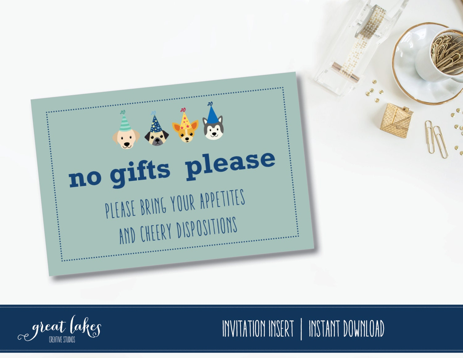 No gifts invitation insert no gifts required puppy party zoom stopboris Choice Image