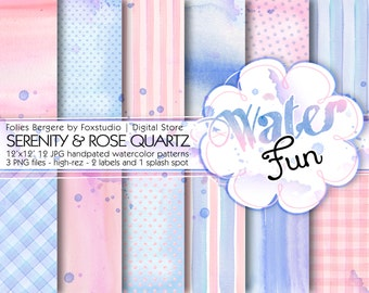 Watercolor Digital Paper Pack Rose Quartz and Serenity Backgrounds Printable Patterns Pantone 2016 Hand Painted Paper Watercolor Clip art