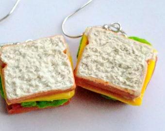 Ham and Cheese Sandwich Earrings - Miniature Food Jewelry - Inedible Jewelry - Sandwich Earrings - Ham Jewelry, Fake Food Jewelry, Deli Food