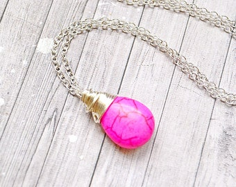 Bright Pink Turquoise Necklace, Wire Wrapped Teardrop Hot Pink Jewelry, Faux Turquoise Drop, Pink Dangle