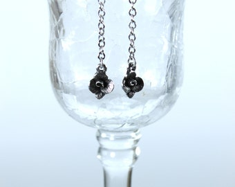 Simply Floral rose and chain earrings gift for her women dangle drop 1928 jewelry mother wife girlfriend