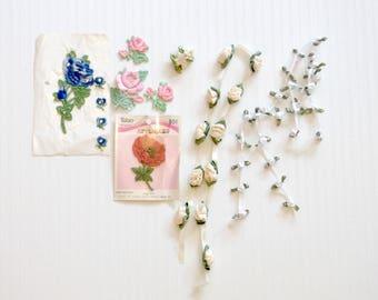 Vintage Retro Flower Applique Ribbon Rose Trim Lot