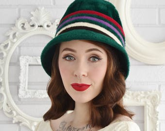Vintage 1960s Green Fuzzy Hat with Stripes by Don Anderson