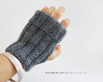 hand knit fingerless gloves || 2-way to wear fingerless mittens || | ribbed gloves ||| gifts for unisex || driving gloves -oxford grey