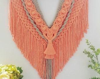 Large Macrame Wall Hanging/Macrame Wall Hanging/Macrame Pink/Boho Tapestry/Hanging Tapestry/Bohemian Decor
