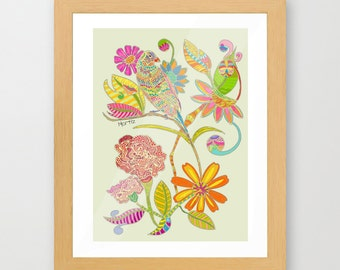 Colorful art Bird and flowers gicleé print wall decor kitchen decor, wall hangings.