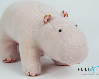 SALE cashmere merino Hippo plush stuffed animal Pink