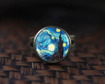 Van Gogh ring, Starry Night ring,Van Gogh jewelry, Classic Art ring, Van Gogh painting glass ring,