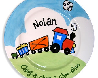 Personalized Hand Painted Train Plate - Coo Choo Train - Kids Dinnerware - Ceramic