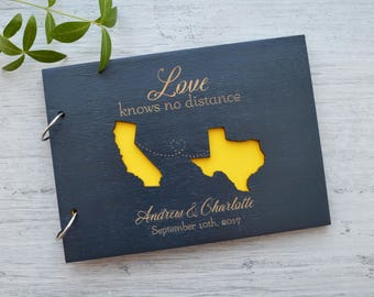 Personalized Map Wedding Guest Book USA States Map Love knows no distance Custom Map Gift Long Distance Relationships Travel Wedding Map