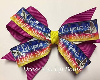 "4"" Let your light shine lightning bug firefly fushia blue yellow hair bow clip birthday party favor Baby Girl toddler teen dressyouupbows"