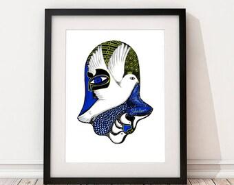 Hamsa Hand Art,Hamsa Art Print, Hamsa Decor, Hand of Miriam, Peace Dove, Hebrew Letter, Shalom Art, Star of David, Judaica, Signed Art Print