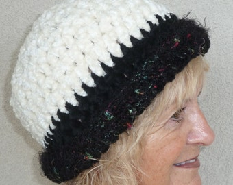 Black and white winter hat that's warm all over, great designer style for warmth and comfort, women's winter crochet hat