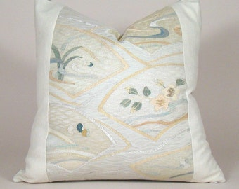 Fan and Flower Motif Vintage Japanese Silk Obi Pillow Cover; Floral Pillow, Botanical Pillow, Japanese Obi Pillow
