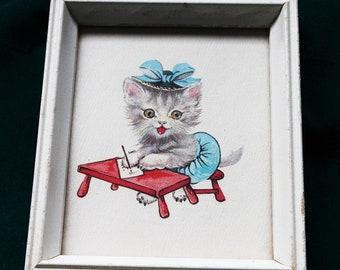 Cat Print Donald Art Company Inc Litho #1810 Made in U.S.A. 1950s
