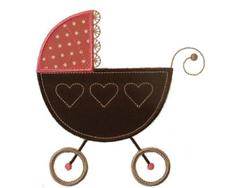 """Baby Doll Pram Machine Embroidery Designs Applique Patterns in 4 sizes 3"""", 4"""", 5"""" and 6"""""""