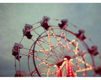 Photography - Ferris Wheel Photograph - Carnival - Fair Art - Summer Photograph - Starry Night - Fine Art Photograph - Oversized Art Print