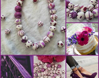 Uniquely created polymer clay bead necklace