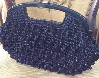 Vintage 1960s Clutch Handbag Purse Dark Blue Cellophane Straw Plastic Beads Paisley Fabric Lining