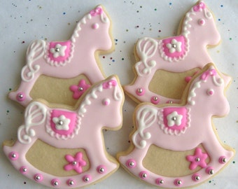 Rocking Horse Cookies - Baby Shower Cookie Favors - 1 Dozen