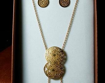 Pre-Colombian Style Jewelry Set - Aztec Calendar (1249-30-G01)