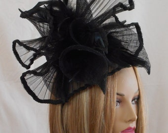 Rayna fascinator, Kentucky Derby hat, color black