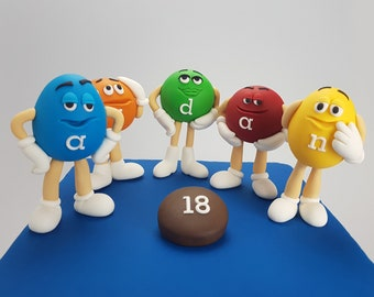 M&M Character Cake Toppers Edible 3D Chocolate Smarties Colourful Decorations Figurines Name and Age Candy