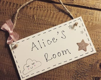 Personalised sleepy cloud children girls name bedroom plaque sign with stars