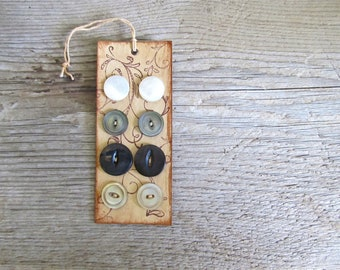 SALE - Vintage Mother of Pearl Buttons on Handmade Card