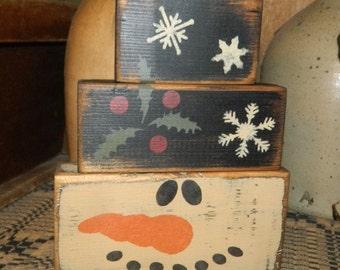 Snowman Primitive Block Sign