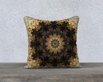 Beige Brown Square Pillow Case 18x18