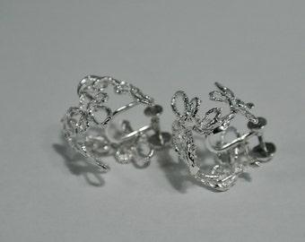 Sterling Silver lace clip earrings, Silver clip earrings,