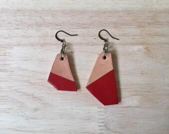 Red earrings, leather earrings, modern jewelry, unique jewelry, geometric earrings