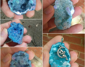 Blue geode druzy quartz crystal pendant necklace. 5 different styles to choose from.