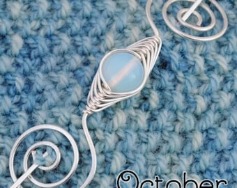 Octobar Opal Birthstone Noteworthy Shawl Pin
