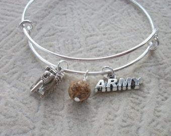 Army Tank - Army Soldier  Adjustable Bangle Bracelet - Picture Jasper Gemstone - Army Wife, Mom, Girlfriend, Sister