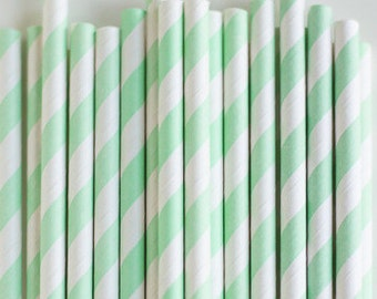 25 mint and white striped paper straws